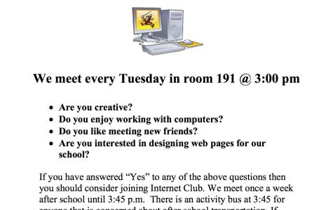 Consider joining the SHS Internet Club