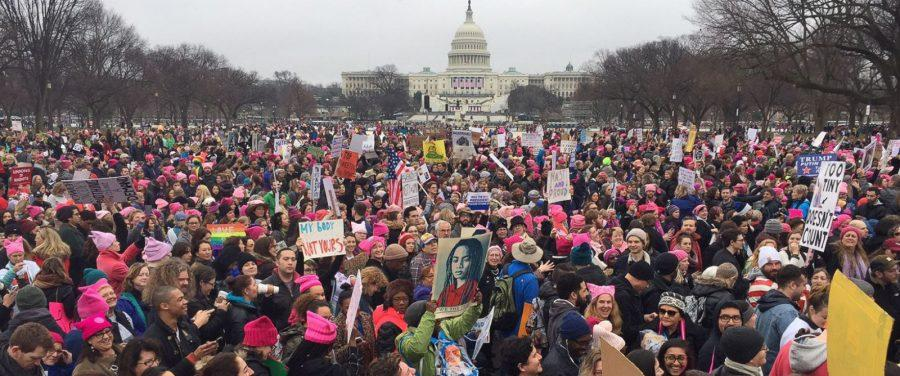 An approximate 500,000 women in Washington DC joined women worldwide in a day of protest.