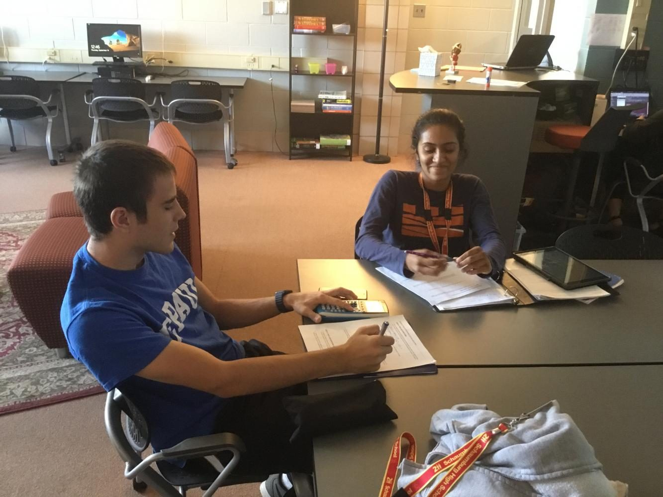 Senior Daniel Owen and Uma Pradeepan study together in the AP Resource Room, which is a new addition to the SHS media center.