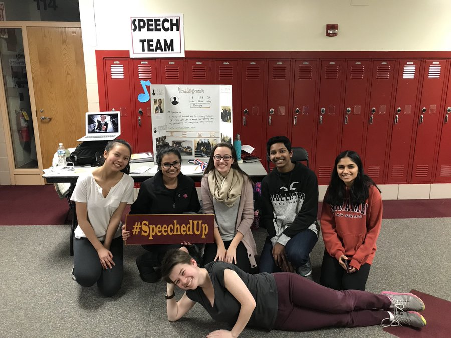 A picture of the Speech Team during Freshmen Recruitment Night, with co-captains Maddy Chau and Sara Shahid, with Sara Harder, Cedric Matthew, Nikita Sharma, and Zoe Mihevic laying on the floor, from left-to right.