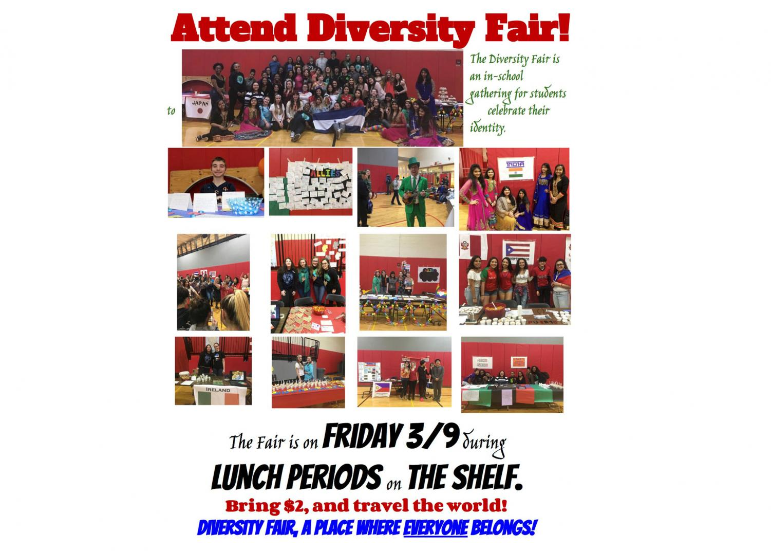 The SHS Diversity Fair is taking place on Friday, February 9 on the gym shelf.