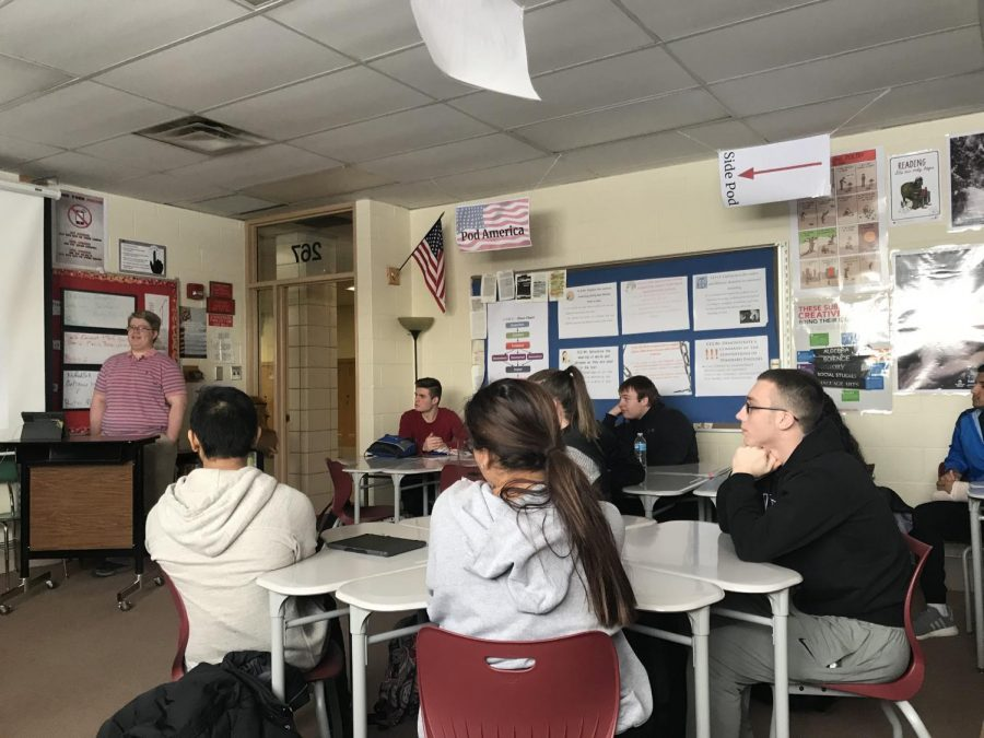 Anthony Zummo delivers a presentation in his dual credit speech class.