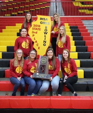 The SHS bowling team poses for a picture after the recognition assembly. The team captured third place at the IHSA bowling competition.