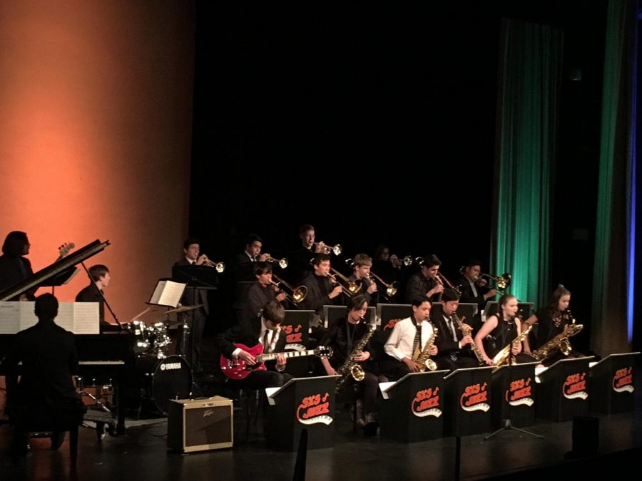 The SHS Jazz Ensemble performs Body Snatchers, by Radiohead during the annual Variety Show
