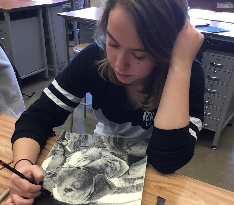 Lexi Kurzawinski works on a piece of art in Ms. Govic's 5th period art class.