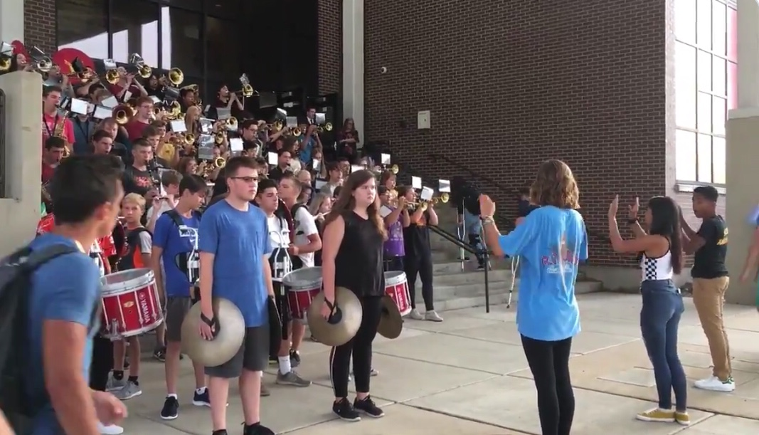 The SHS band welcomes students back on the first day of school.